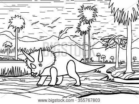 Dinosaur Triceratops Coloring Book For Children And Adults. Stylish Hand Drawn Antistress Coloring P