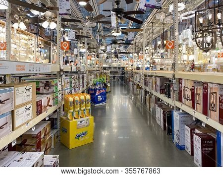 The Home Depot Store Department Section Aisles, Light Section. San Diego, California, Usa. The Home