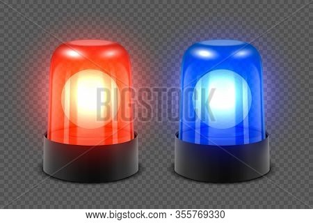 Vector 3d Realistic Red And Blue Turn On Police Flasher Siren Set Closeup Isolated On Transparent Ba