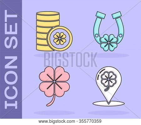 Set Location And Four Leaf Clover, Gold Coin With Four Leaf Clover, Four Leaf Clover And Horseshoe W