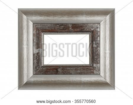 Empty Brown Wooden Frame For Paintings With Silver Patina. Isolated On White Background