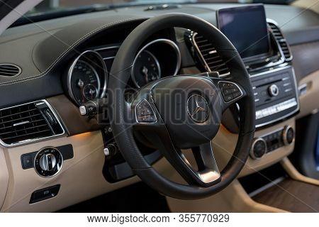 Russia, Izhevsk - February 20, 2020: Mercedes-benz Showroom. Interior Of New Modern Gle 350d Car. Fa
