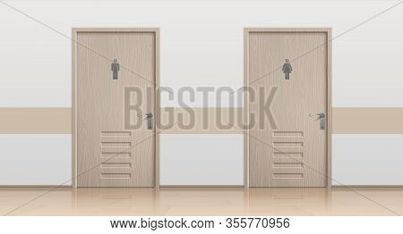 Toilet Doors. Realistic Interior Mockup With Closed Bathroom Doors For Men And Women Visitors. Vecto
