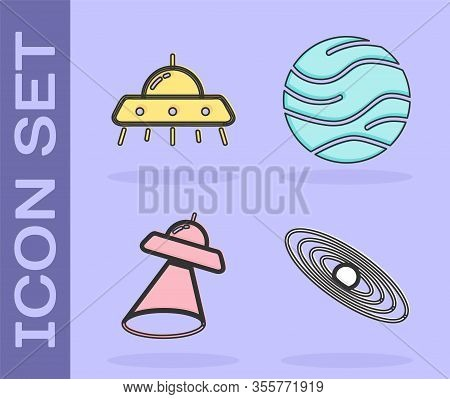 Set Planet, Ufo Flying Spaceship, Ufo Flying Spaceship And Planet Icon. Vector