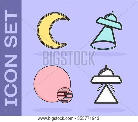 Set Ufo Flying Spaceship, Moon And Stars, Planet And Ufo Flying Spaceship Icon. Vector
