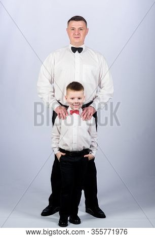 Formal Event. Grow Up Gentleman. Gentleman Upbringing. Little Son Following Fathers Example Of Noble
