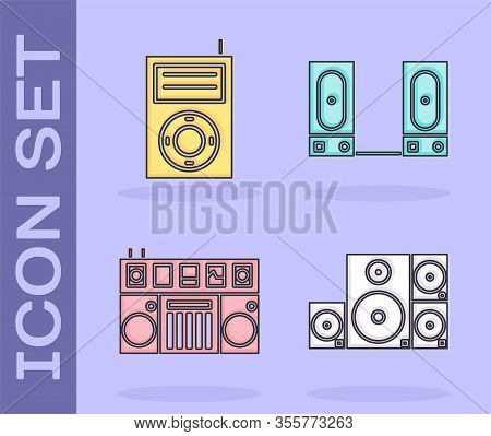 Set Stereo Speaker, Music Mp3 Player, Dj Remote For Playing And Mixing Music And Stereo Speaker Icon