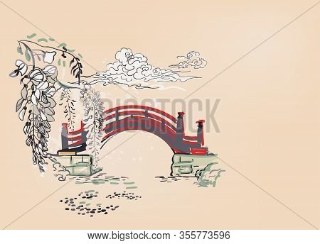 Bridge Pond River Wisteria Nature Landscape View Vector Sketch Illustration Japanese Chinese Line Ar