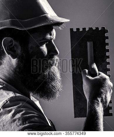 Bearded Man Worker, Beard, Building Helmet, Hard Hat. Plastering Tools. Tool, Trowel, Handyman, Man