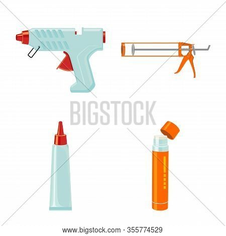 Vector Design Of Glue And Super Icon. Set Of Glue And School Vector Icon For Stock.