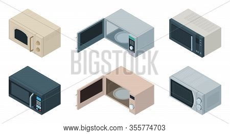 Microwave Vector Isometric Set Icon. Vector Illustration Kitchen Oven On White Background . Isolated