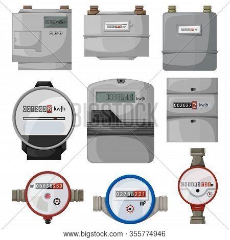 Electric Power, Gas, Water Meter Vector Cartoon Set Icon. Vector Illustration Counter On White Backg
