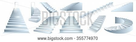Stair Isolated Vector Realistic Set Icon. Realistic Set Icon Staircase. Vector Illustration Stairway