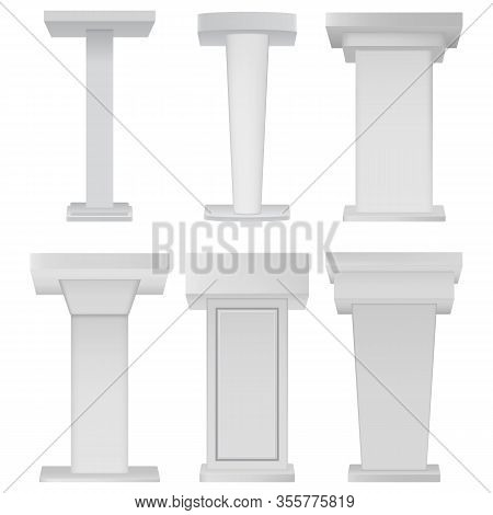 White Podium Tribune Rostrum Stands On White Background. Blank Podium Tribune Debate Or Stage Stand