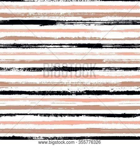 Grunge Stripes Seamless Vector Background Pattern. Simple Backdrop Grafitti. Dry Paintbrush Stripes