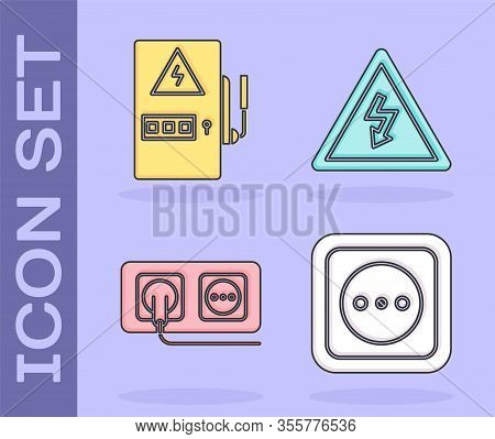 Set Electrical Outlet, Electrical Panel, Electrical Outlet And High Voltage Sign Icon. Vector