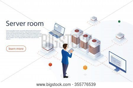 It Engeneer With Modern Tablet In Network Server Room. Web Hosting Isometric Vector For Landing Page