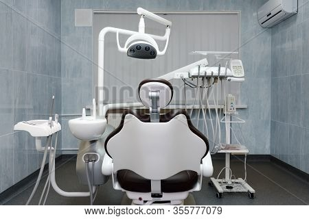 Dentist Office. Modern Dental Cabinet. Dental Instruments And Tools In Modern Clinic, Professional D