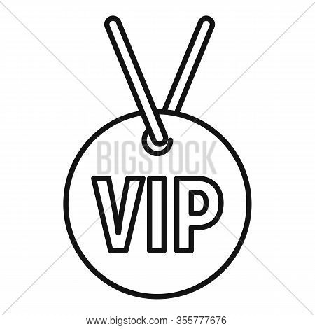 Vip Necklace Icon. Outline Vip Necklace Vector Icon For Web Design Isolated On White Background