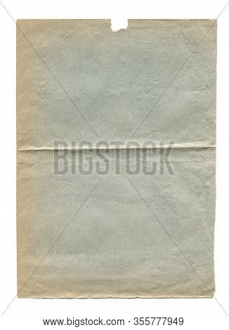 Vertical Closeup Of Blank Old Aged Paper Texture Background Blue Tint With Wrinkle And Torn Edges Is
