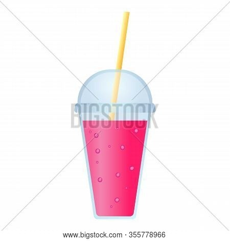 Plastic Cup Smoothie Icon. Cartoon Of Plastic Cup Smoothie Vector Icon For Web Design Isolated On Wh