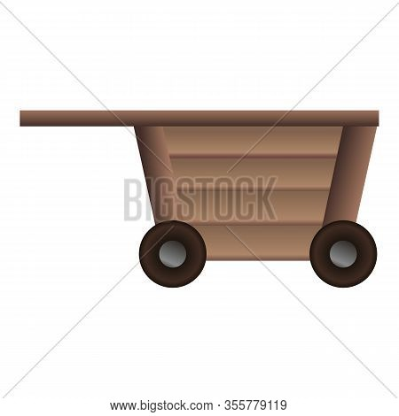 Wood Wagon Icon. Cartoon Of Wood Wagon Vector Icon For Web Design Isolated On White Background