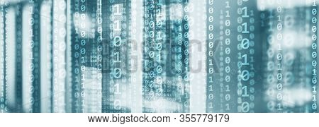 Digital Binare Code On Data Center Background. Technology Panoramic Wallpaper For Your Business