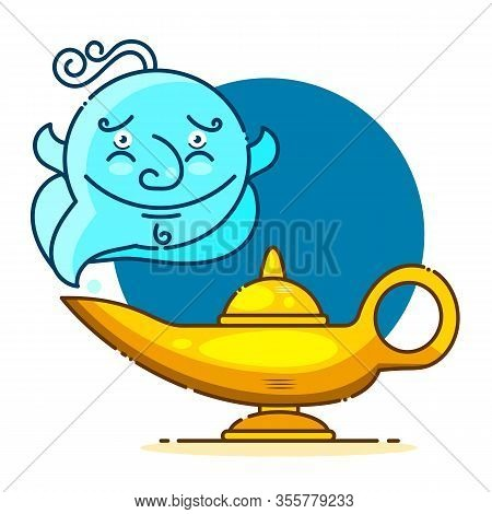Isolated Cartoon Aladin Lamp With Cloud. Vector Illustration