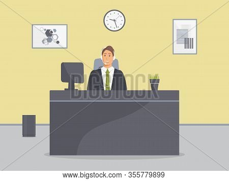 Cozy Call Center Office.assistant Male With Headphones Sit At Table With Monitor And Home Plant In P