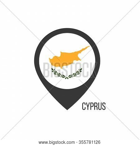 Map Pointers With Contry Cyprus. Cyprus Flag. Stock Vector Illustration Isolated On White Background