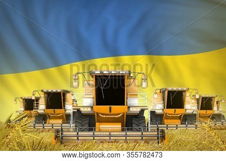 Industrial 3d Illustration Of Some Yellow Farming Combine Harvesters On Wheat Field With Ukraine Fla