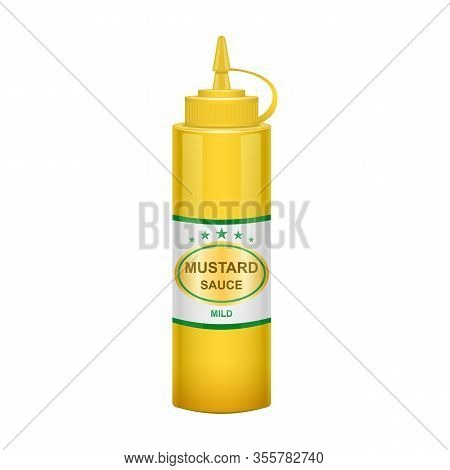 Sauce Mustard Vector Icon.realistic Vector Icon Isolated On White Background Sauce Mustard .