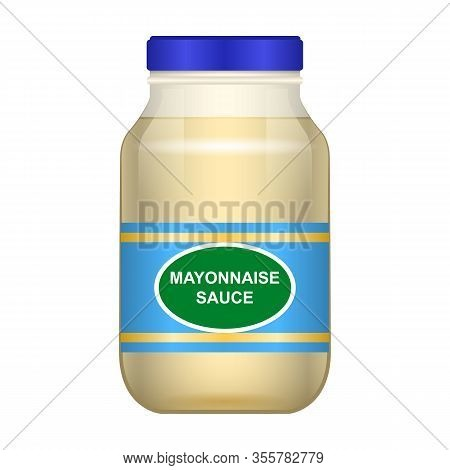 Sauce Of Mayonnaise Vector Icon.realistic Vector Icon Isolated On White Background Sauce Of Mayonnai