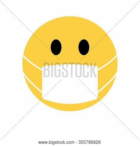 Smiley Face Coronavirus In Facemask Icon Vector Illustration