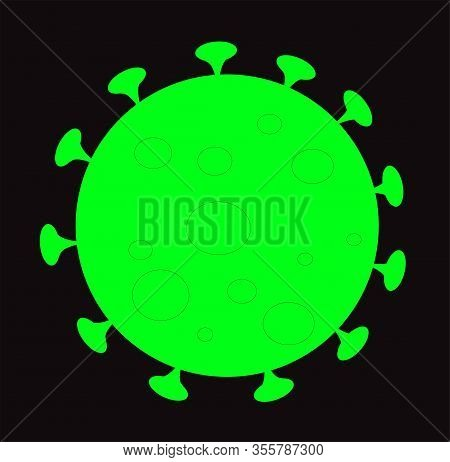 Coronavirus Icon Isolated Over Black Background. Covid19 Infection