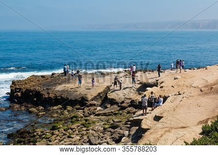 La Jolla, California - June 16, 2017:  People Enjoy Ocean Views From The Boomer Beach Area Of La Jol