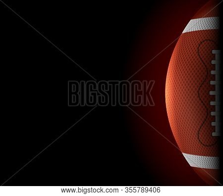 American Football Ball Horizontal Banner. Realistic Icon. Front View American Rugby Ball. Vector Ill