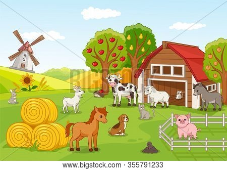 Colorful Farmyard With Assorted Animals Gathered Outside A Wooden Barn And Fruit Orchard With Laden
