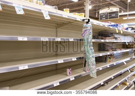 Vancouver, Canada - March 15,2020: Empty Safeway Store Shelves Show Shortage Of Food As Coronavirus