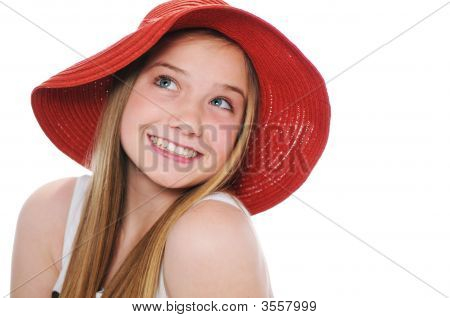 Gorgeous Teen Girl With Red Hat