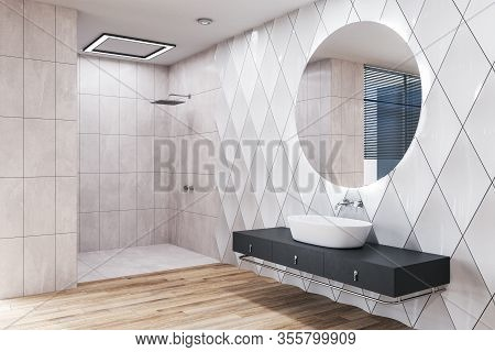 Modern Bathroom Interior Room With Decorative Objects. Style And Hygiene Concept. 3d Rendering