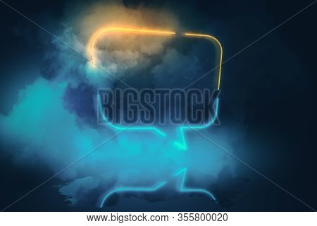 Neon Speech Bubbles With Smoke On Blue Background. Mock Up. 3d Rendering