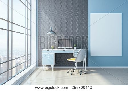 Workplace In Home Office With Computer And Blank Banner. Workplace And Lifestyle Concept. 3d Renderi