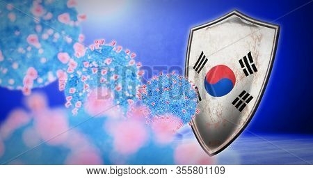 Fight Of The South Korea With Coronavirus - 3d Render