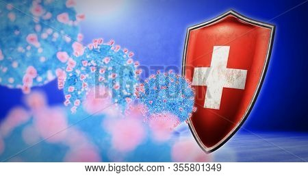 Fight Of The Switzerland With Coronavirus - 3d Render