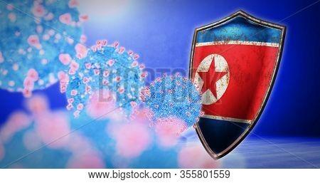 Fight Of The North Korea With Coronavirus - 3d Render