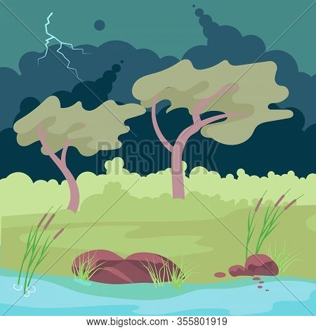 Autumn Stormy Weather. Thunderstorm And Lightning Over Bank Of The River And Forest. Flat Art Vector