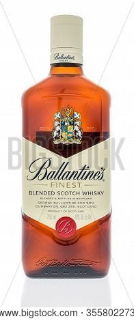 Winneconne,  Wi - 12 March 2020:  A Bottle Of Ballantines Finest Blended Scotch Whisky On An Isolate