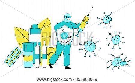Vector Flat Doctor Virologist, Infectious Disease Specialist Or Therapist Who Fights Viruses With Sy