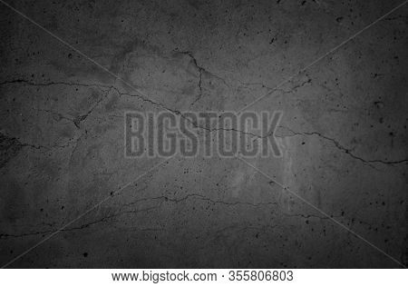 Art Black Concrete Stone Texture For Background In Black. Have Color Dry Scratched Surface Wall Cove